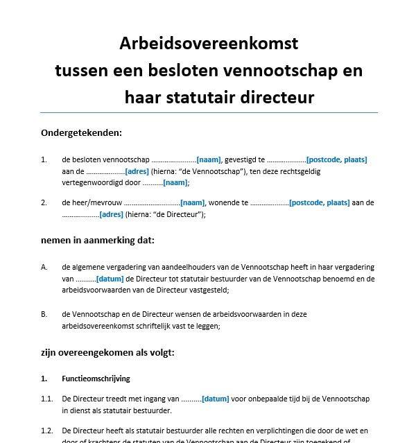 arbeidsovereenkomst BV en statutair directeur