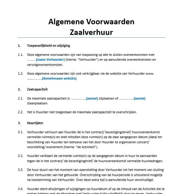 voorbeeldbrief reservering Algemene voorwaarden zaalverhuur Voorbeeld   Voorbeeldcontract.nl voorbeeldbrief reservering