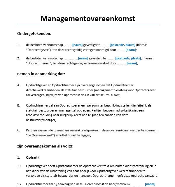 Managementovereenkomst Holding Voorbeeld ...