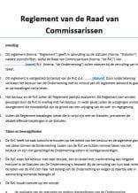 Reglement Raad van Commissarissen BV