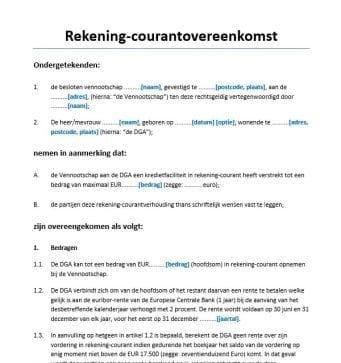 rekening-courant overeenkomst