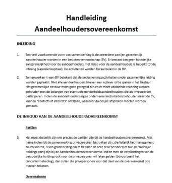Handleiding aandeelhoudersovereenkomst