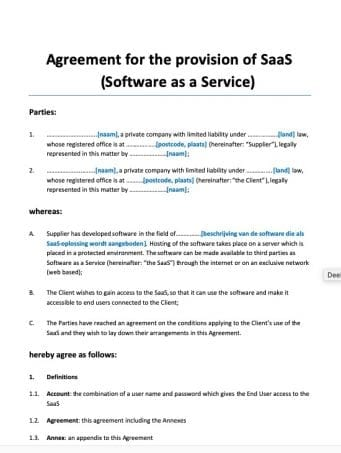 Agreement for the provision of SaaS Software as a Service