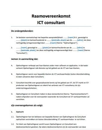 Raamovereenkomst ICT Consultant