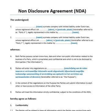 Non Disclosure Agreement Engels