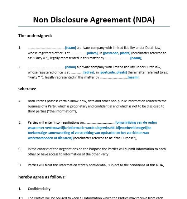 Non Disclosure Agreement Engels Voorbeeldcontract