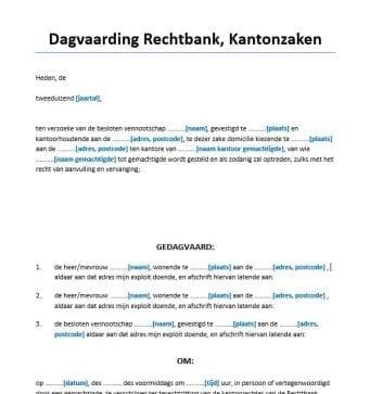 Dagvaarding kantonrechter meerdere gedaagden