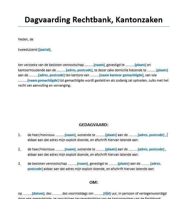 voorbeeldbrief rechtbank Dagvaarding kantonrechter meerdere gedaagden Voorbeeld  voorbeeldbrief rechtbank