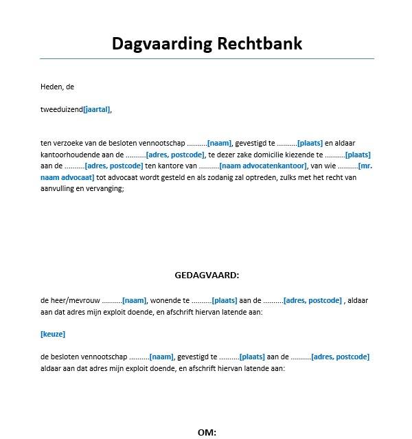 voorbeeldbrief rechtbank Dagvaarding rechtbank 1 gedaagde Voorbeeld   Voorbeeldcontract.nl voorbeeldbrief rechtbank