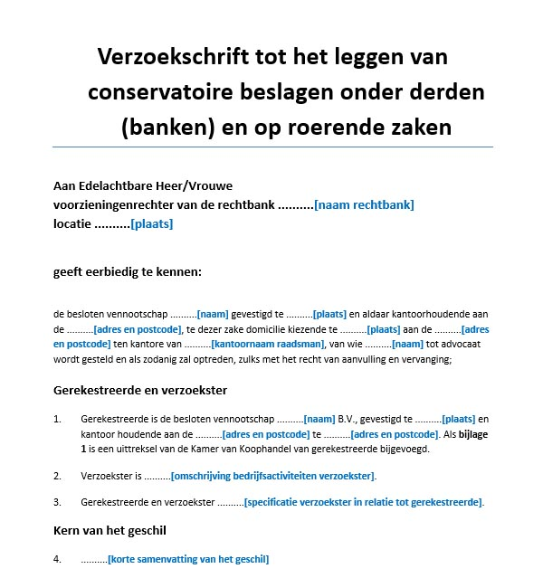 voorbeeldbrief verzoek Verzoekschrift bankbeslag en roerende zaken voorbeeld