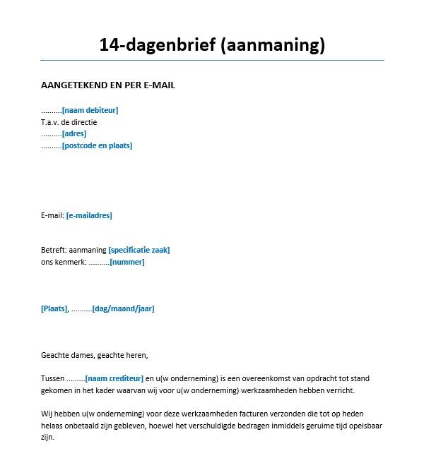 voorbeeldbrief aanmaning betaling 14 dagenbrief (aanmaning) Voorbeeld   Voorbeeldcontract.nl voorbeeldbrief aanmaning betaling