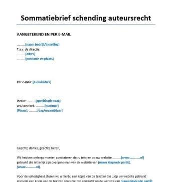 Sommatiebrief schending auteursrecht website