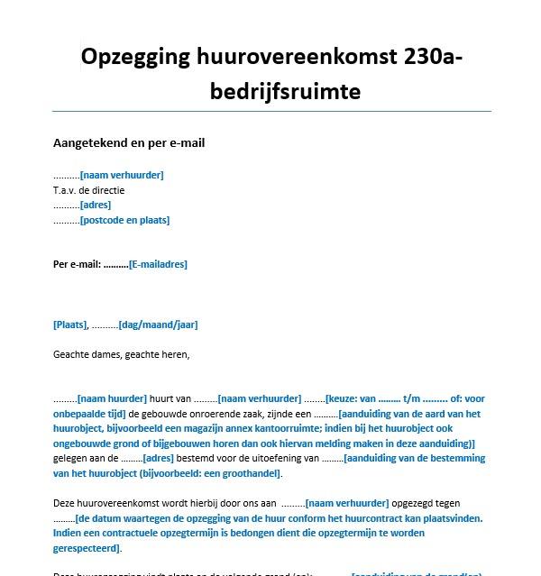 voorbeeldbrief claimen bankgarantie Huuropzegging per aangetekende brief   huurrechtspecialist.nl voorbeeldbrief claimen bankgarantie