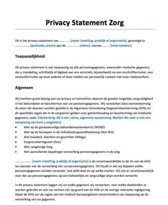 Privacy Statement Zorg privacyverklaring AVG