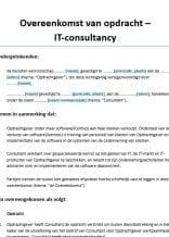 Overeenkomst van opdracht IT consultancy