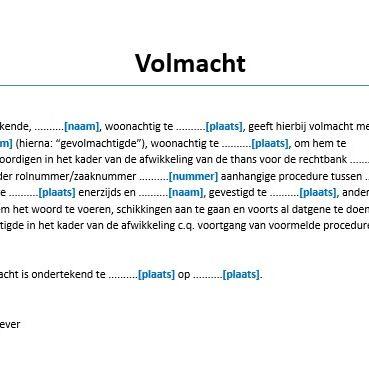 voorbeeld brief machtiging Volmacht Voorbeeld » Algemene procesvolmacht   Voorbeeldcontract.nl