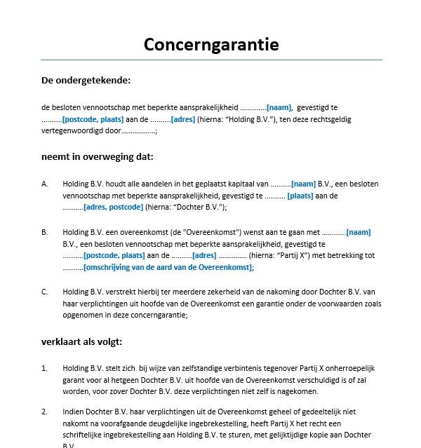 voorbeeldbrief claimen bankgarantie Concerngarantie Voorbeeld   Voorbeeldcontract.nl voorbeeldbrief claimen bankgarantie