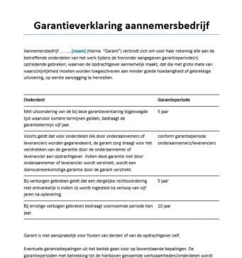 Garantieverklaring aannemersbedrijf