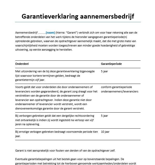 voorbeeldbrief garantie Garantieverklaring aannemersbedrijf Voorbeeld   Voorbeeldcontract.nl voorbeeldbrief garantie