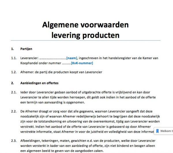 algemene voorwaarden levering producten voorbeeld