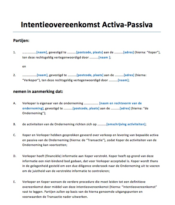 Intentieovereenkomst activa passiva   Voorbeeldcontract.nl