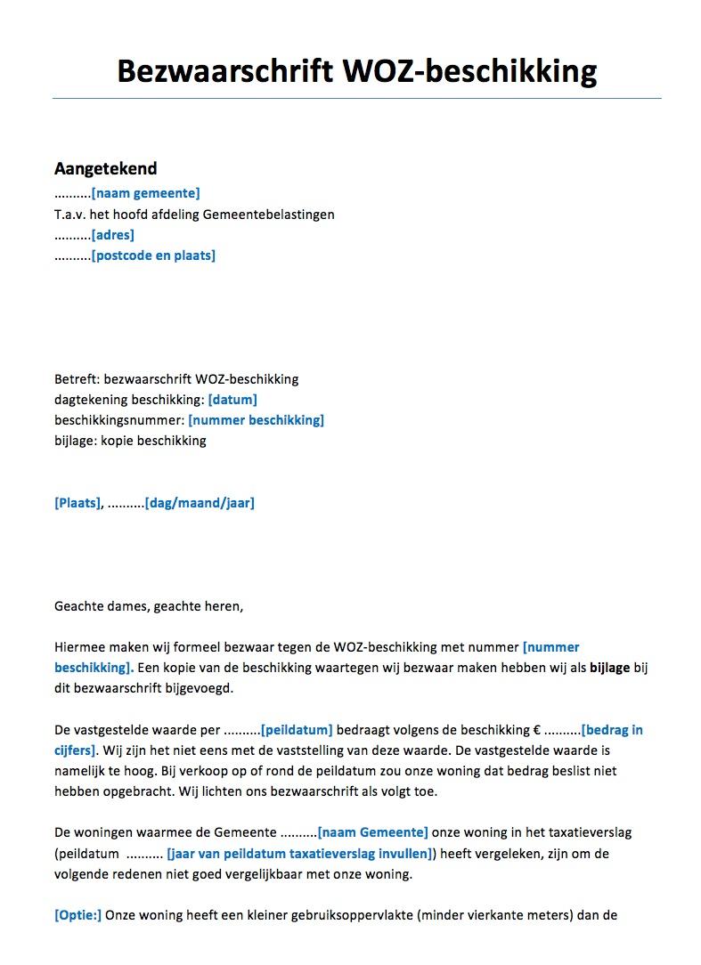 voorbeeldbrief bezwaar Bezwaarschrift WOZ Voorbeeld   Voorbeeldcontract.nl voorbeeldbrief bezwaar