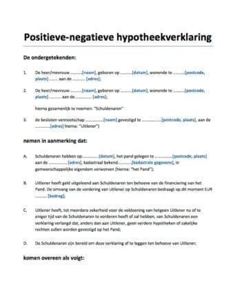 Positieve negatieve hypotheekverklaring