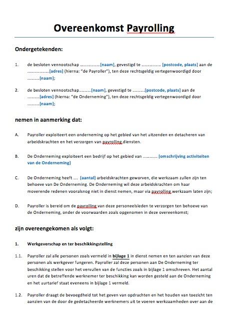 voorbeeldbrief overeenkomst Overeenkomst Payrolling Voorbeeld   Voorbeeldcontract.nl voorbeeldbrief overeenkomst
