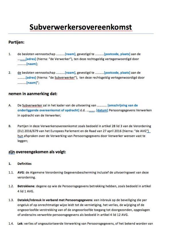 Subverwerkersovereenkomst