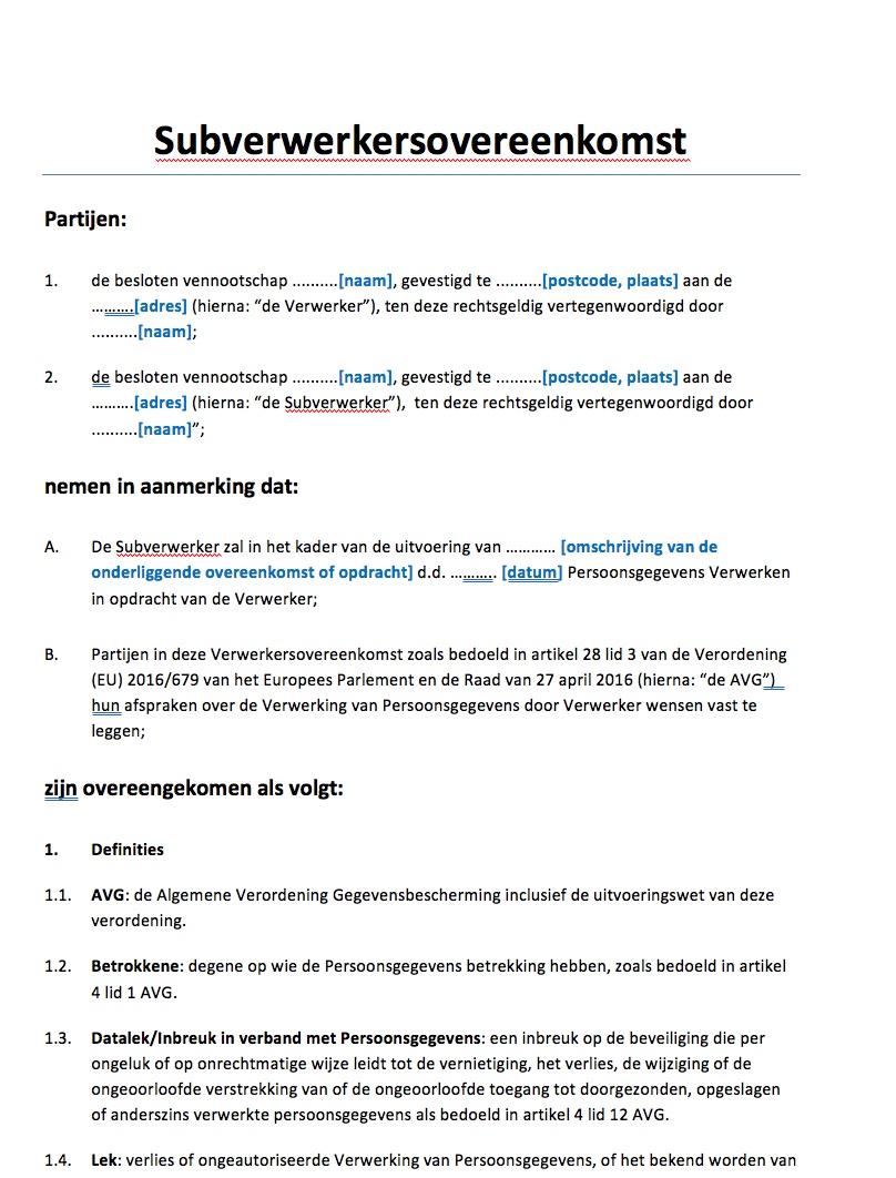voorbeeldbrief toestemming Subverwerkersovereenkomst AVG Voorbeeld   Voorbeeldcontract.nl voorbeeldbrief toestemming
