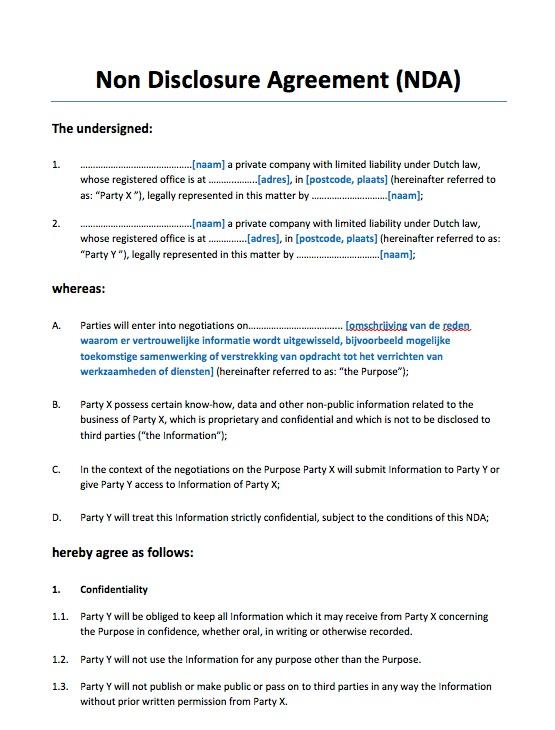 Non Disclosure Agreement Eenzijdig Engelstalig