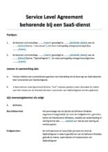 Service Level Agreement (SLA) SaaS diensten