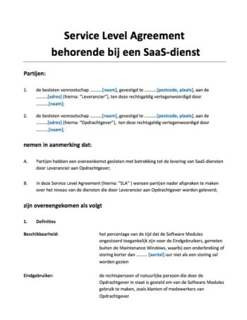 Service Level Agreement (SLA) SaaS diensten