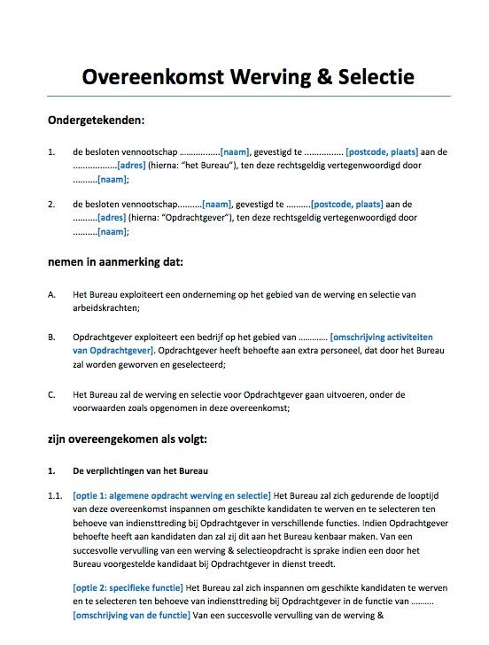 overeenkomst-werving-selectie