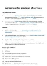 Dienstverleningsovereenkomst Engelstalig