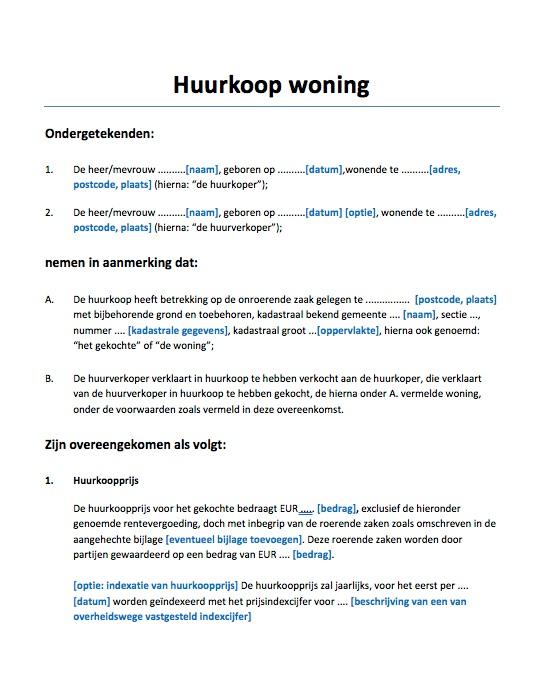 voorbeeldbrief verkoop huis Huurkoop woning voorbeeld: direct downloaden   Voorbeeldcontract.nl voorbeeldbrief verkoop huis