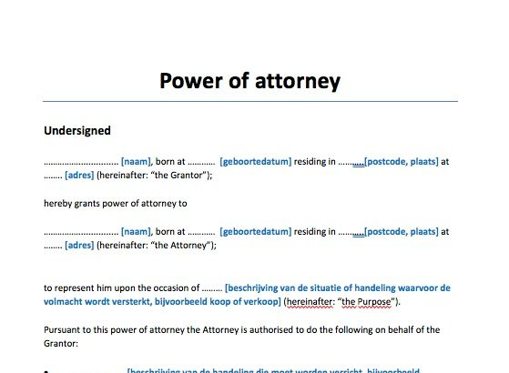 Volmacht Engelstalig Power of Attorney
