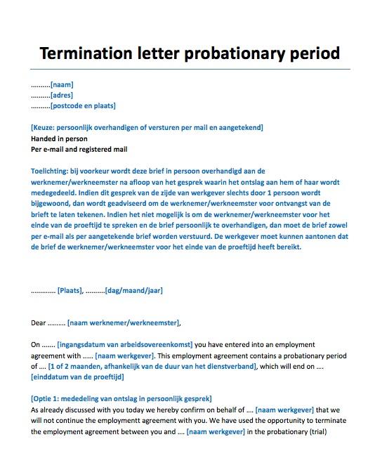voorbeeld ontslagbrief werknemer engels Ontslagbrief proeftijd   Engels Voorbeeld   Voorbeeldcontract.nl voorbeeld ontslagbrief werknemer engels