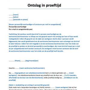 ontslagbrief proeftijd Voorbeeldcontracten rondom Arbeidsrecht   Voorbeeldcontract.nl ontslagbrief proeftijd