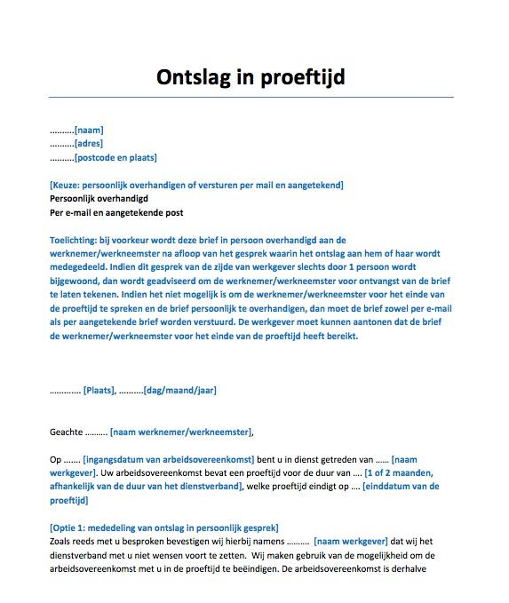 aangetekende ontslagbrief Ontslagbrief proeftijd Voorbeeld   Voorbeeldcontract.nl
