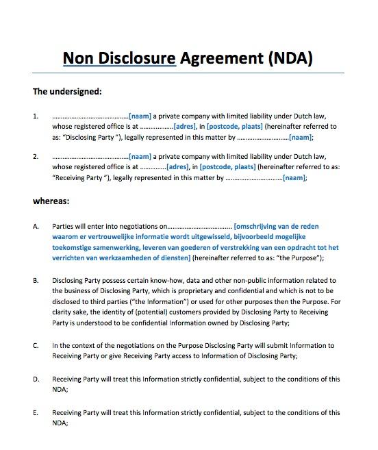 Geheimhoudingsverklaring NDA klantgegevens Engels
