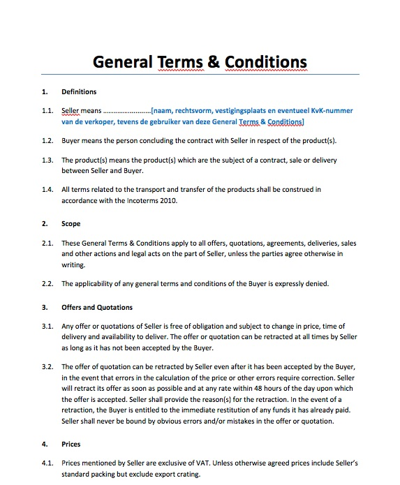 General Terms and Conditions Sale of Goods