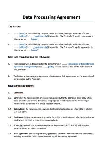 Verwerkersovereenkomst (DPA) Engelstalig