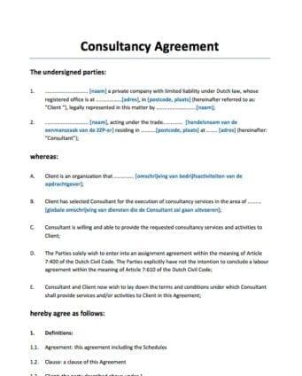 Consultancy Overeenkomst Engelstalig