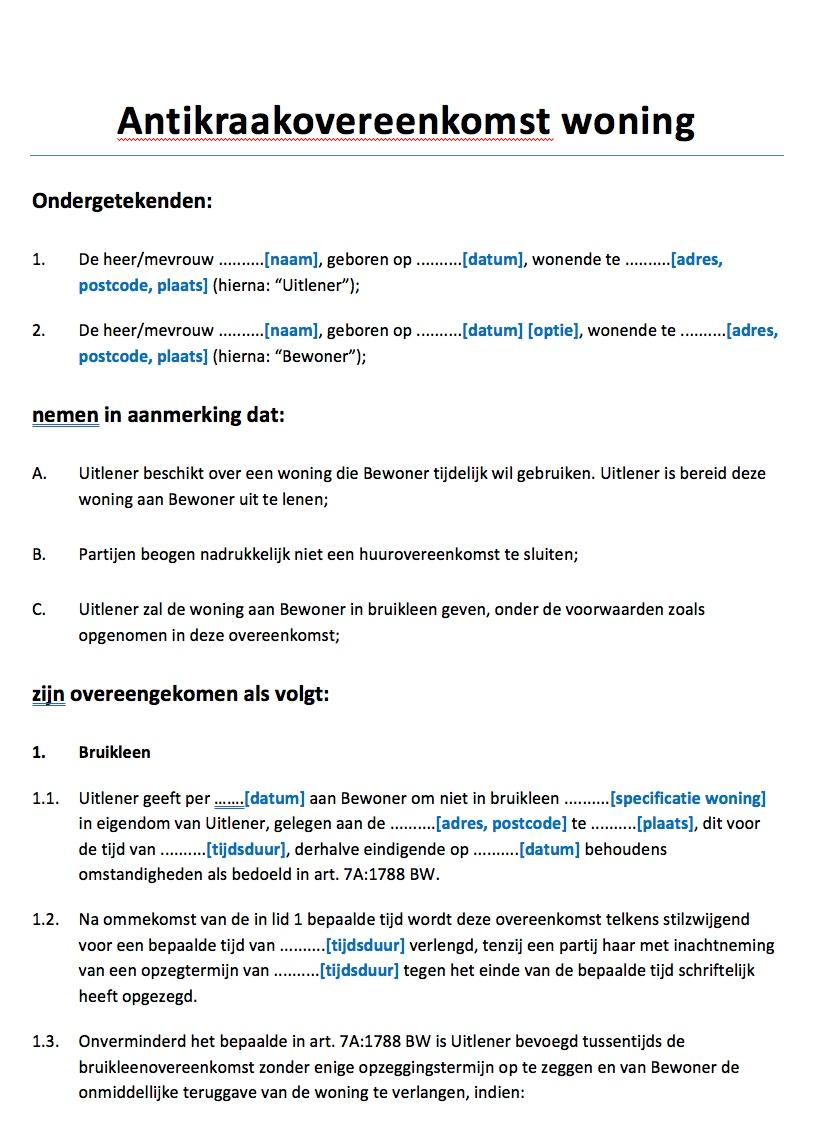 voorbeeldbrief verkoop huis Antikraakovereenkomst woning Voorbeeld   Voorbeeldcontract.nl voorbeeldbrief verkoop huis
