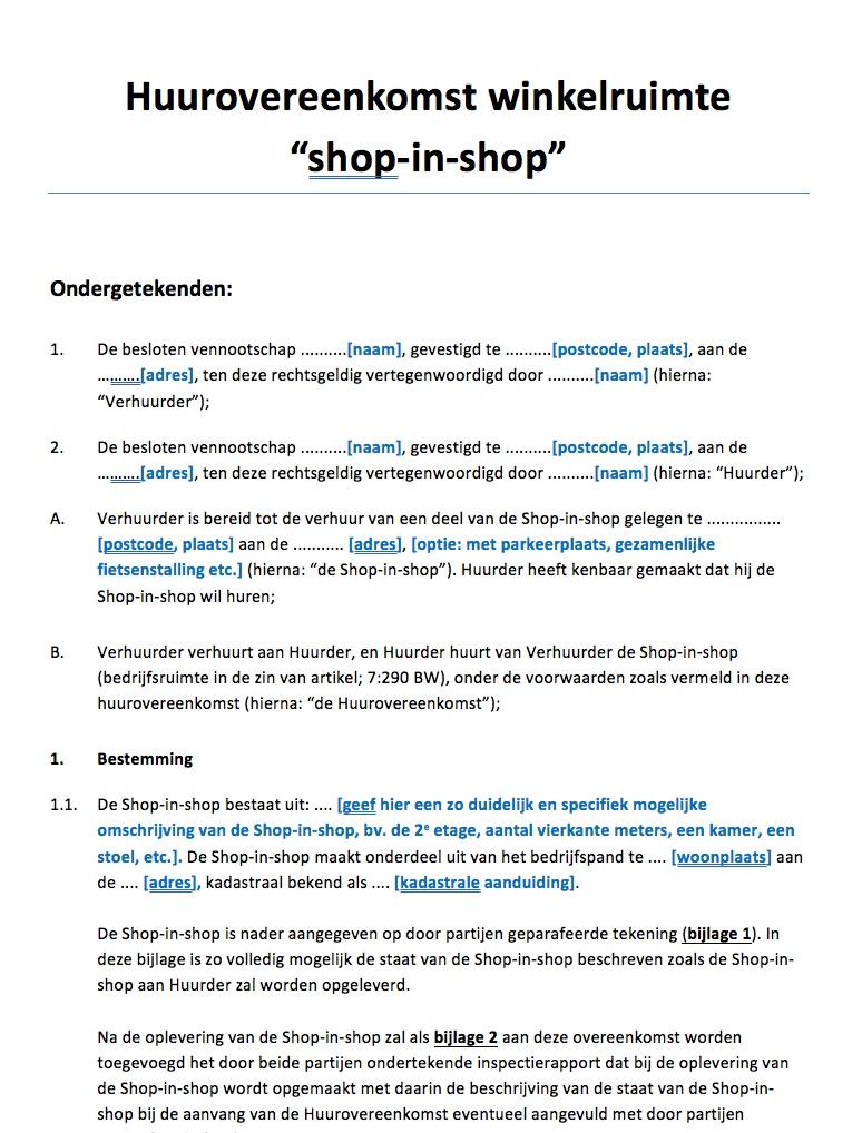 13004a461cc Huurovereenkomst winkelruimte shop-in-shop
