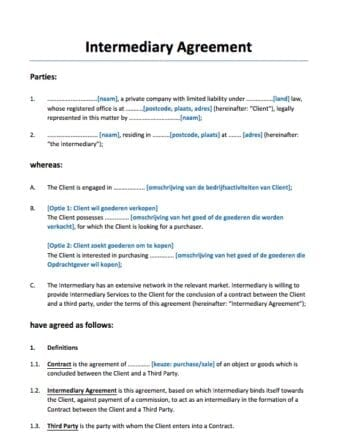 Bemiddelingsovereenkomst Engelstalig
