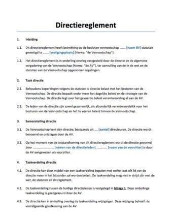 Directiereglement BV directiestatuut