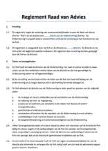 Reglement Raad van Advies