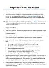 Reglement Raad van Advies Stichting
